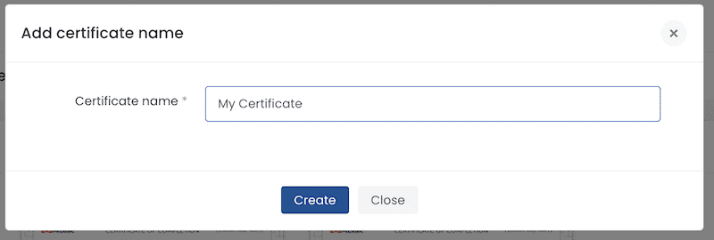Name your certificate