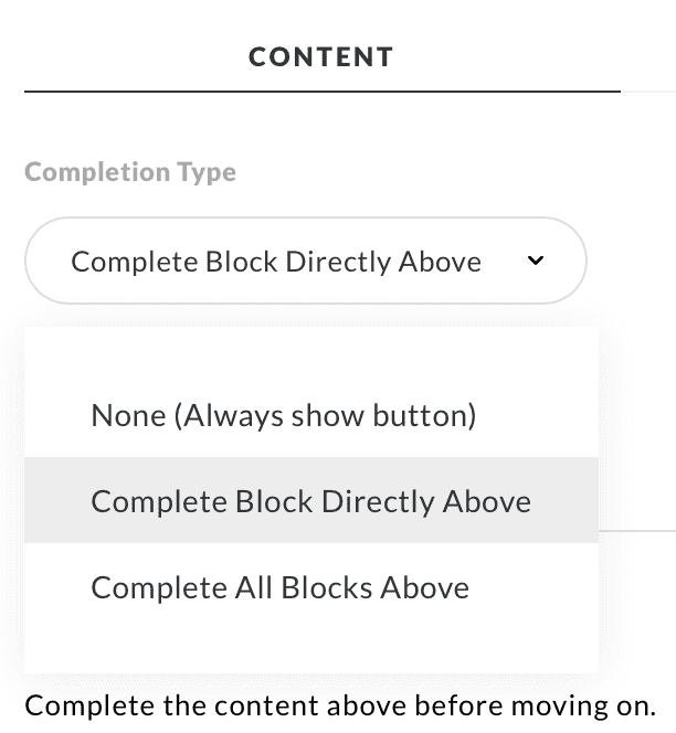 Articulate Rise add continue button